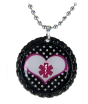 Pink Heart Polka Dot Medical ID Necklace