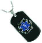 EMS Black Medical ID With Blue Necklace