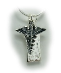 Sterling Silver Caduceus Necklace Snake