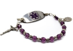 Amethyst Rosary Medical ID Bracelet