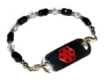 Black Beauty Medical Alert ID Bracelet