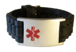 Black Rubber Medical ID Bracelet