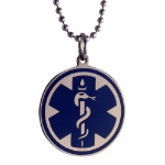 EMS Blue Round Medical Necklace