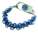 Dark Blue Chainmail Medical Bracelet