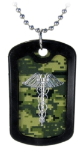 Digital Camo Caduceus Necklace