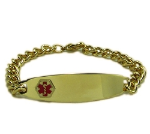 Golden Medical Alert ID Bracelet