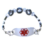 Gray Crystal Medical Bracelet