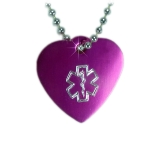 Medium Medical Alert ID Necklace Heart-SOL