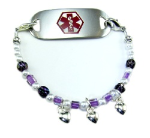 Girl's Hearts and Pearls Medical Bracelet