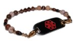 Mahogany Medical Alert ID Bracelet