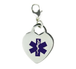 Medical Alert Heart Charm Blue