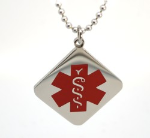 EMS Red Square Medical ID Necklace