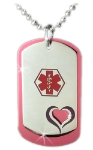 Heart Dog Tags in Pink