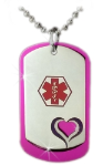 Heart Dog Tags in Purple