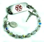 Crystal Rosary Medical Bracelet