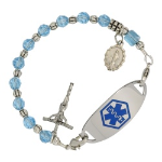 Aquamarine Rosary Medical ID Bracelet