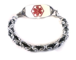 Byzantine Silver and Black Medical Bracelet