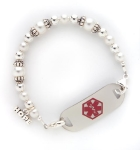 Swarovski Pearls and Silver Medical Alert ID Bracelet