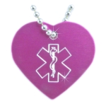 Medical Alert ID Necklace Heart-O