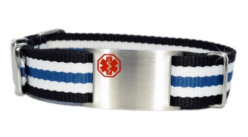 Blue, White, and Black Nato Style Medical Bracelet