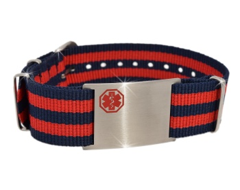 Red and Navy Nato Style Medical ID Bracelet