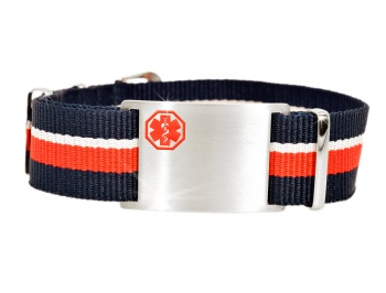 Red, White and Navy Blue Nato Style Medical ID Bracelet