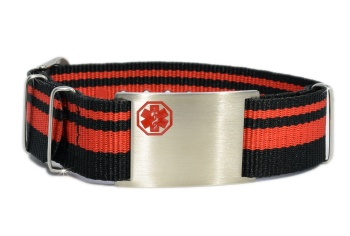 Red and Black Stripe Nato Styled Medical ID Bracelet