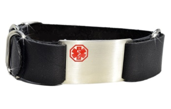 Black Leather Nato Style Medical ID Bracelet