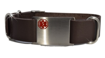 Brown Leather Nato Style Medical Bracelet