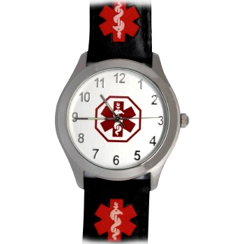 Medical ID Watch with Star of Life Symbol and Leather Band