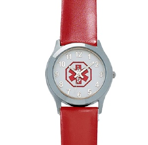 Red Leather Medical ID Watch for Women