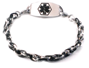 Medical ID Bracelet in Silver and Black Oval Links