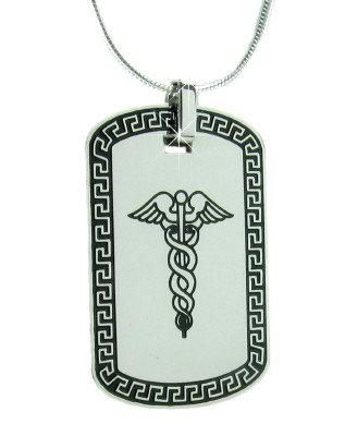 Designer Caduceus Medical Necklace with Sterling Silver Snake Chain