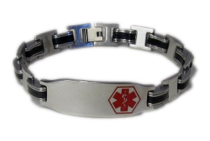 Rubber and Steel Medical ID Bracelet