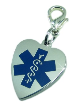 Blue Heart Medical Charm with Lobster Clasp