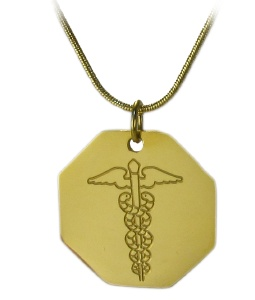 Gold Octagon Caduceus Medical ID Necklace