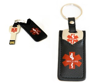 Star of Life Leather Medical ID USB Key Ring
