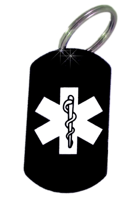 Black EMS Laser Medical ID Key Ring