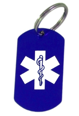 Blue EMS Laser Medical ID Key Ring