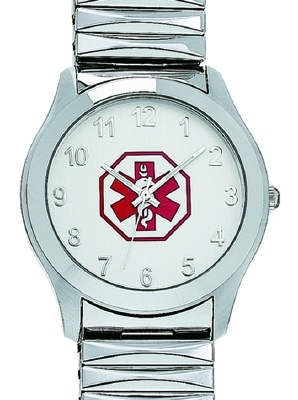 Medical ID Watch with Star of Life Symbol and flex band