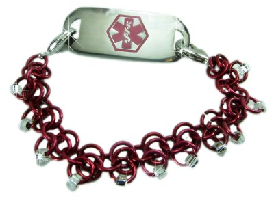 Dark Red Medical ID Bracelet in Chainmaile