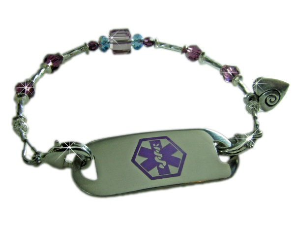 Plum Crazy Medical ID Bracelet for Women