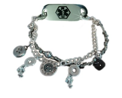 Button Up Medical ID Bracelet for Women