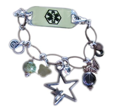 Hearts and Butterflies Medical ID Bracelet