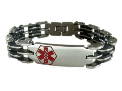 Rubber And Stainless Medical Bracelet