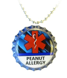 Peanut Allergy Medical ID Necklace with Blue Streaks