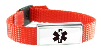 Red-Orange Nylon Medical Bracelet for Kids