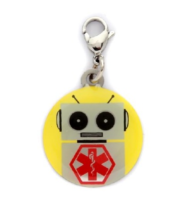Kid's Robot Medical ID Charm for Coats, Shoes, Backpacks and Zippers