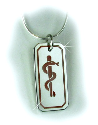 Asclepius Medical ID Necklace with Sterling Silver Snake Chain for Men or Women