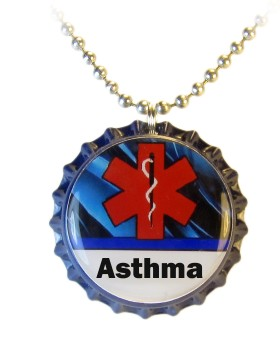 Asthma Medical ID Necklace with Blue Streaks